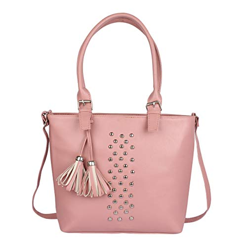 Typify Women's Leatherette PU Handbag with Sling Belt for College (Pink)