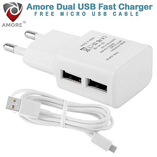 Amore 2.1 Amp 2 USB Port Compatible Mobile Charger For Motorola, HTC, Samsung, Lenovo, Sony, LG With Cable.