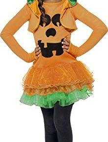 Smiffys-43021L Halloween Disfraz de Calabaza, Vestido con tutú y Cazador, Color Naranja, L-Edad 10-12 años (Smiffy'S…