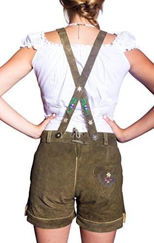 Kurze Damen Lederhose (36, Grün) - 2