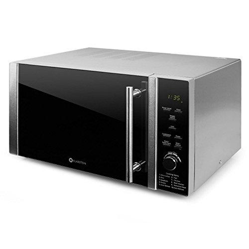 Klarstein Luminance Prime Microondas con Grill • 28L • 900W + 1000W (Parrilla) • 12 programas • Temporizador hasta 60 min• Vidrio de Seguridad • Frontal semireflejante Negro • Acero Inoxidable