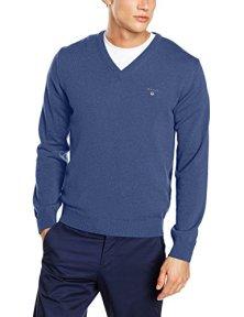 Gant-Lambswool-V-Neck-suter-para-Hombre-Azul-Stone-Blue-Melange-Small