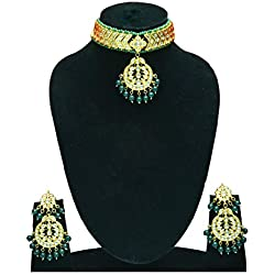GREEN AALIYA CHOKER BOLLYWOOD FASHION FANCY JEWELLERY IMMITATION FOR WHOLESALE PRICE CHOKER NECKLACE AND GENUINE LIGHT WEIGHT PARTY FUNCTION