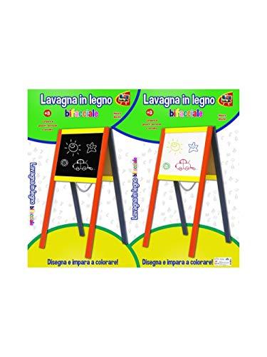 Kidz Corner- Lavagna Legno bifacciale con Gambe, Multicolore, 400761