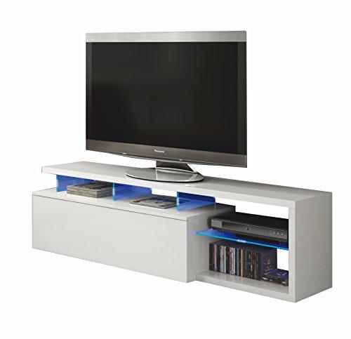 Esidra Mobile Basso TV 1 Anta, con LED-Laminato Bianco, 43 x 150 x 41 cm