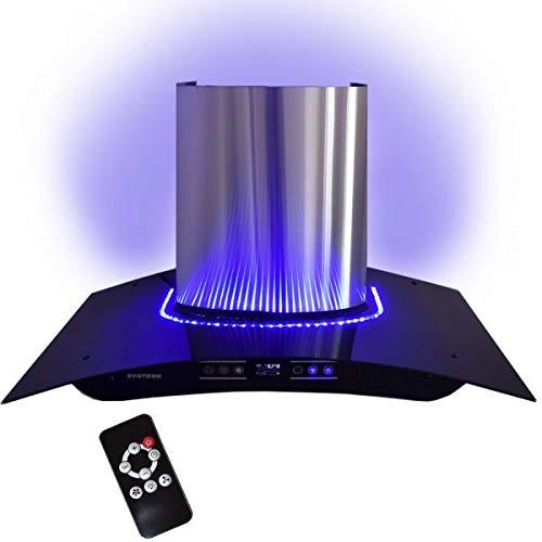 Syntrox Germany IE-230W 900 D INOX Cappa aspirante 90 cm con Blu LED, Touch Screen e Telecomando