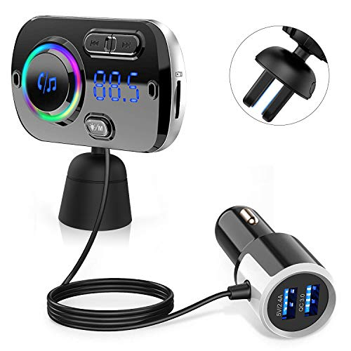 Trasmettitore Fm Bluetooth 5.0 QINFOX 2-in-1 FM Transmitter per Auto Radio Adattatori Vivavoce Car...