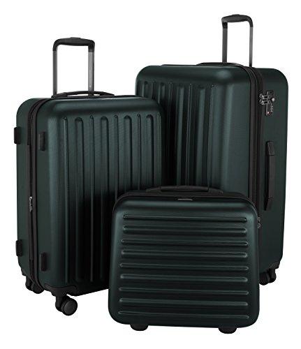 HAUPTSTADTKOFFER - Tegel - 3er Koffer-Set Trolley-Set Rollkoffer Reisekoffer Hartschalenkoffer, TSA, (S, M & L), Waldgrün