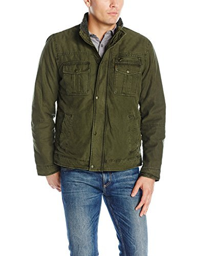 Levi's Men's Washed Cotton Two Pocket Sherpa Lined Trucker Jacket, Olive, S