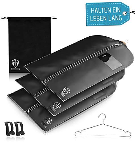 3 x Kleidersack Anzug + Bonus Schuhbeutel - Kleiderhülle Hält Ein Leben Lang | Anzugtasche - BIS ZU 56 {4c1377b9f616727b85d7547d28023795a899f0ef1f051b4e9d61dc5c2f19a2b2} Dickeres Material (125 GSM) | Atmungsaktiv & Wasserdicht | Reise Schutzhülle | 102 x 60 cm