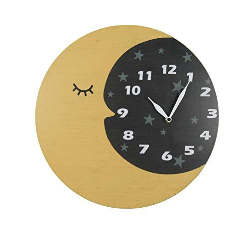 NIKKY HOME Orologio da Parete in Legno per la Decorazione della Stanza dei Bambini Luna Gialla Sky Crescent Moon Design