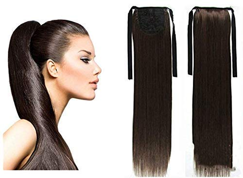 Pema Hair Extensions And Wigs D-DIVINE Ribbon Ponytail Binding Up Synthetic Fiber Deep-Wave Hair Extension (Brown)