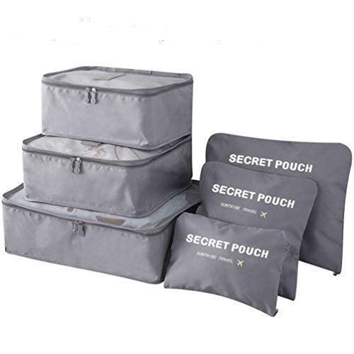 Clickus-Packing Cubes, 6pcs Travel Storage Bag Organizer Luggage Suitcase Compression Pouches (Grey)