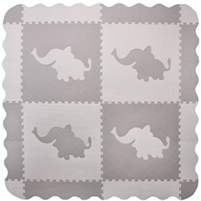 4 azulejos grandes de elefantes de juego de bebé de espuma gris interconectables con dibujos de elefantes - tapetes con…