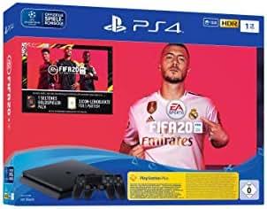 PlayStation 4 Slim - Konsole (1TB, schwarz) inkl. FIFA 20 + 2 DualShock Controller