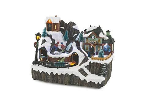 Galileo Casa 2424124 Weihnachtsdorf mit Musik und Schlittenlichtern, Mehrfarbig, Einheitsgröße