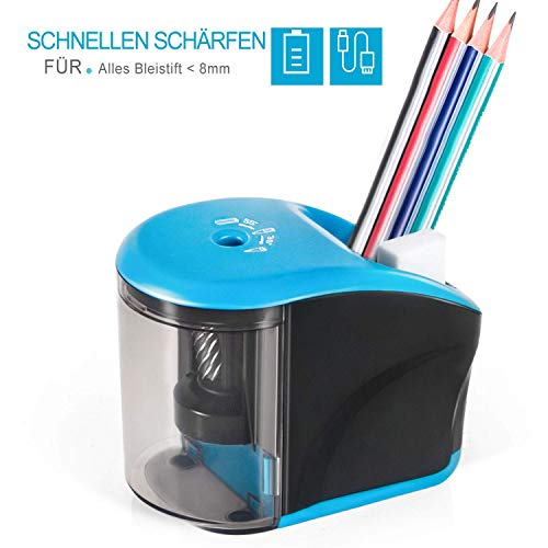 Elektrischer Anspitzer, INVOKER Stahlfräser Bleistiftspitzer mit Robuster Spiralklinge für Nr. 2 Stifte Buntstifte, Perfekt für Zuhause, Büro, Schule Klassenzimme, Automatischer Spitzer Elektrisch