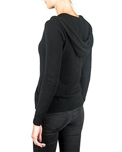 100% Kaschmir Damen Kapuzenpullover | Hoodie mit Reißverschluss (Schwarz, XL) - 2