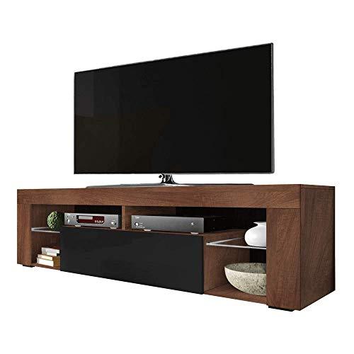 Selsey HUGO - Mobile TV/Tavolino TV/Ripiani in Vetro / 140cm / Colore Noce con Nero Lucido