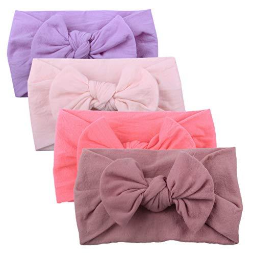DZT1968 4Pcs Girls Baby Toddler Turban Solid Headband Hair Band Bow Head Cap Accessories Headwear