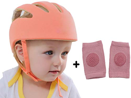 DearJoy Baby Safety Helmet with Corner Guard & Proper Ventilation + Kneepads (Orange)