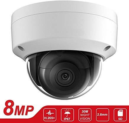 Telecamera IP a cupola da 8 MP, UltraHD, telecamera di sicurezza PoE IP (Hikvision OEM) DS-2CD2185FWD-I da 2,8 mm, slot per schede SD, visione notturna da 30 m, H.265 +, IP67, ONVIF (IPC185-1)