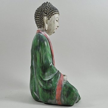 Cross Legged figura de buda grande rojo verde piedra lavar espiritual al aire libre H27cm 6
