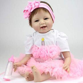 HRYEOY Muñecos Bebé Reborn Niñas Realista Recién Nacido 22 Inch 55cm Simulación Silicona Suave Juguetes