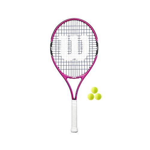 """Wilson Junior Burn Pink Tennis Racquet (Bundle Options) (23"""" Racquet + Balls)"""