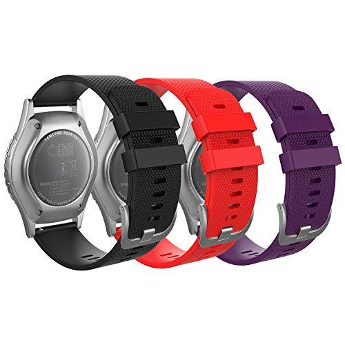 MoKo Cinturino per Garmin Vivoactive 3/Samsung Galaxy Watch 42mm/Galaxy Watch Active/Active 2/Gear S2 Classic/Ticwatch E, [3-PCS] 20mm Morbido Braccialetto di Ricambio - Nero e Rosso e Viola