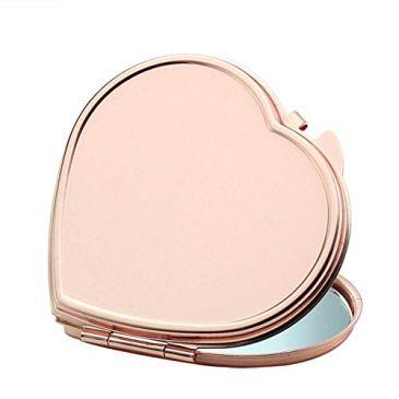 Sungpunet Portable bourse Miroir Rose d'or miroir de maquillage compact pliant Miroir de poche pour voyager, Forme Camping-Coeur Facile à Pratique