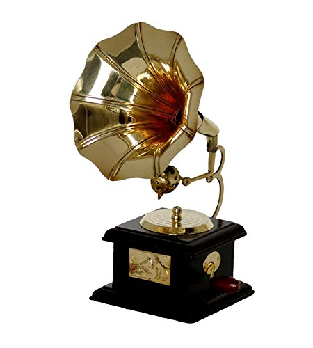 SAARTHI Handmade Vintage Dummy Brass Gramophone Showpiece (Brown, Gold) 23 cms