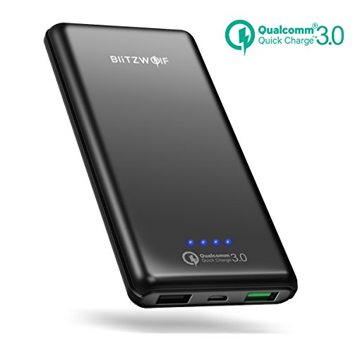 [Quick Charge 3.0] Batería Externa 10000mAh, BlitzWolf Cargador Portátil Qualcomm Carga Rapida 3.0 2 Puertos Power Bank para iPhone, Samsung Android Móviles iPad Tabletas PSP Cámaras