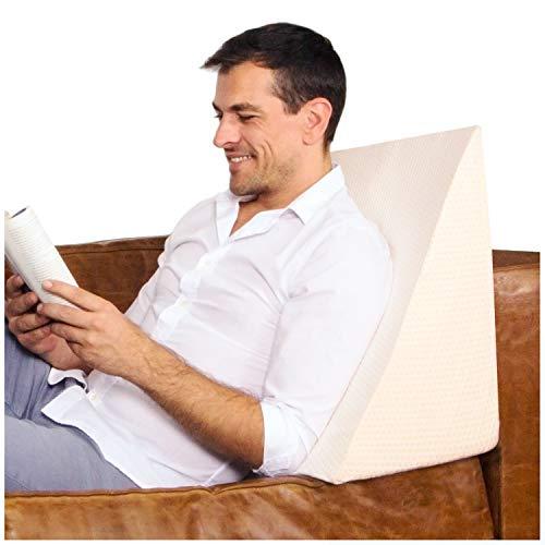 Purovi Cuscino a Cuneo per letto e divano | Supporto lombare | Ideale per lettura e TV | Perfetto...