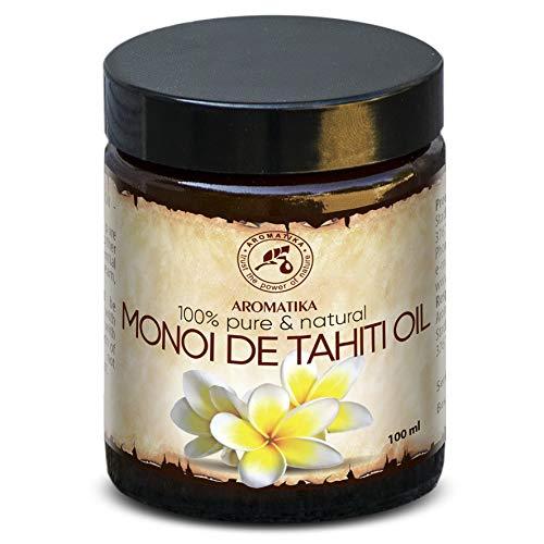 Olio di Monoi di Tahiti 100ml - Naturale e Puro al 100% - Olio di Base - Cura per Viso - Corpo - Capelli e Pelle - Anti-Invecchiamento - Uso Puro - Ottimo con Olio Essenziale - Relax - Massaggi