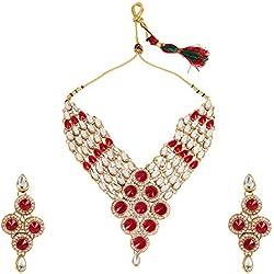 Dancing Girl Bridal Dulhan Rani Pink Metal Alloy Necklace Earring Maang Tika Set Jewellery Sets for Women