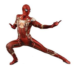 WOLJW Traje de Spiderman Ropa de Cosplay Disfraces Disfraces Adultos Niños Cosplay Traje con Cremallera Trasera Monos de Spandex Medias Anime Juego de Disfraces,Adult,L