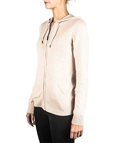 100% Kaschmir Damen Kapuzenpullover | Hoodie mit Reißverschluss (Beige / Washed Ecru, XL) - 3