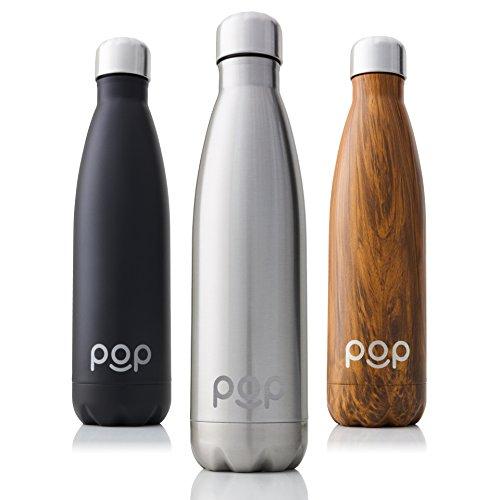 POP Bottiglia per Acqua Design | Mantiene Il Freddo per 24 Ore e Il Caldo per 12 Ore | Acciaio Inox Isolamento a Vuoto | Antigoccia e anticondensa | Collo Stretto e priva di BPA | 500 ml | Titanio