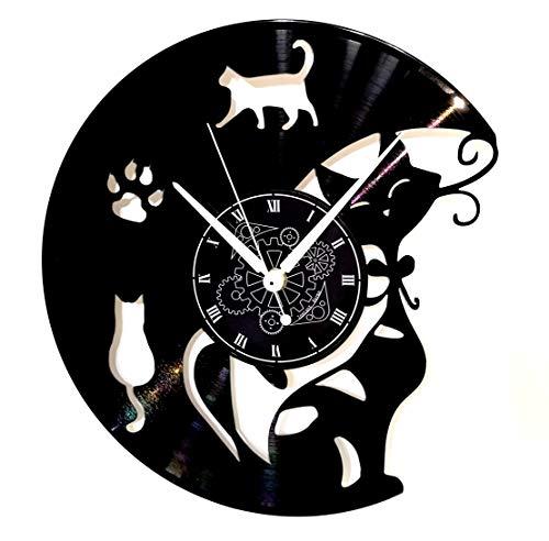 Instant Karma Clocks Orologio da Parete in Vinile Idea Regalo Vintage Handmade Cat Gatto Gatti, Silenzioso