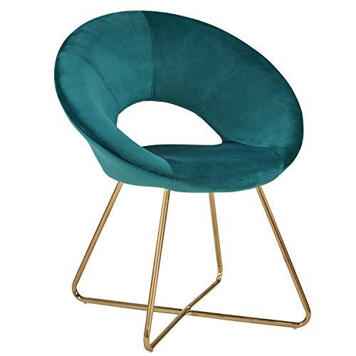 Duhome Sedia da Sala da Pranzo in Tessuto (Velluto) Verde bluastro Blu Sedia di Sala d'attesa conferenza Design Straordinario con Piedini in Metallo Sedia Imbottita Selezione Colore 439D