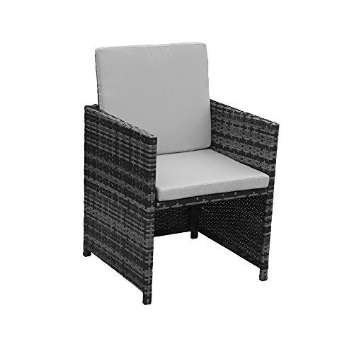 Polyrattan Lounge Gartenmöbel Set Garnitur Sitzgruppe Gartenmöbel SJ08 (Grau) - 4