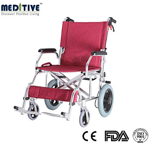 MEDITIVE Aluminium Lightweight and Foldable Transit Wheelchair with Backrest and Flip up Leg Rest