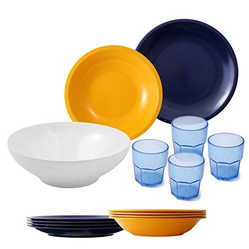 Cartaffini - Agile - Juego de Camping de 14 Piezas, en melamina, Colores Amarillo/Azul, 25 cm