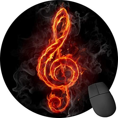 Alfombrilla de ratón de Goma Antideslizante, Redonda, para Ordenador portátil, Nota de música de Fuego de Agudos en Negro (2 Unidades)