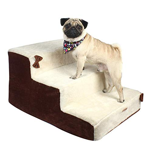 Douge Couture Dog/Cat Stairs/Ladder3 Steps Ramp Ladder Off White and Brown Color