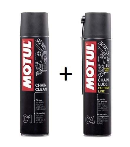 MOTUL Pack + ECONOMIC Spray Chain C1 400ml Clean C4 GREASE Special road
