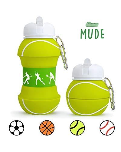 Mude-Borraccia Tennis-550 millilitri-Divertente e Indistruttibile, In Silicone Apribile e...
