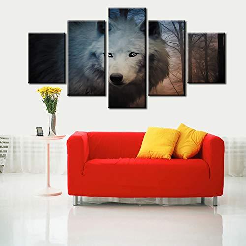 Picture On Canvas HD Stampato Wall Art Living Room 5 Panel Wild White Wolf Modulare Decorazione...
