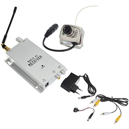 SODIAL 1.2G Kit Telecamera Ricevitore Radio AV con Alimentatore Sorveglianza Sicurezza Domestica (Spina EU)
